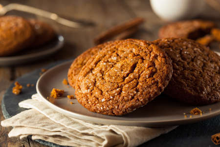 biscuits: Warm Homemade Gingersnap Cookies topped with Sugar Stock Photo