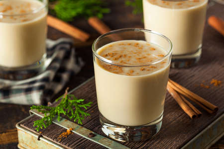 Cold Refreshing Eggnog Drink for the Holidays Stock Photo