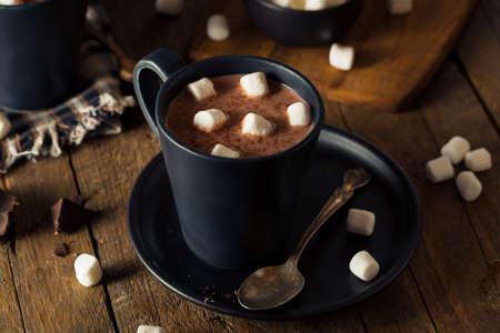 白いマシュマロと自家製の暖かいホット チョコレート 写真素材
