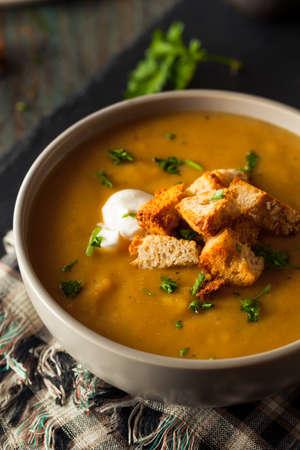 Homemade Hot dagelijks Squash Soep met Toppings Stockfoto