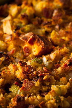 cornbread: Traditional Homemade Cornbread Stuffing for the Holidays Stock Photo