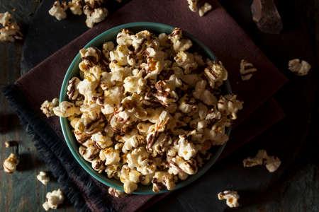 chocolate treats: Homemade Chocolate Drizzled Caramel Popcorn Ready to Eat