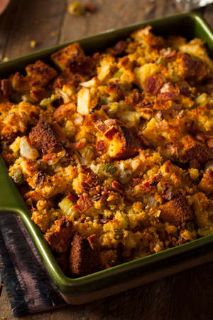 Traditional Homemade Cornbread Stuffing for the Holidays Stock Photo