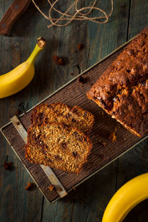 fruitcake: Homemade Chocolate Chip Banana Bread Cut in Slices