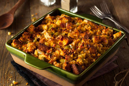 Traditional Homemade Cornbread Stuffing for the Holidays 스톡 콘텐츠