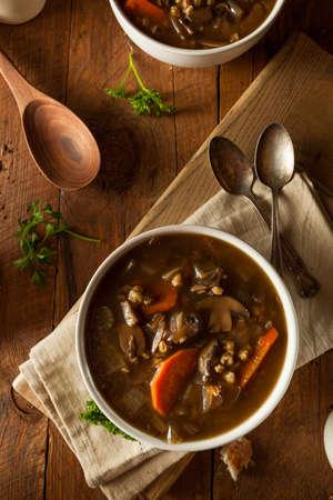 mushroom soup: Homemade Mushroom Barley Soup Ready to Eat Stock Photo