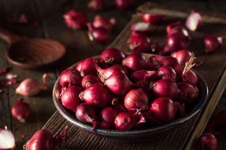 Organic Red Pearl Cipolle in una ciotola Archivio Fotografico