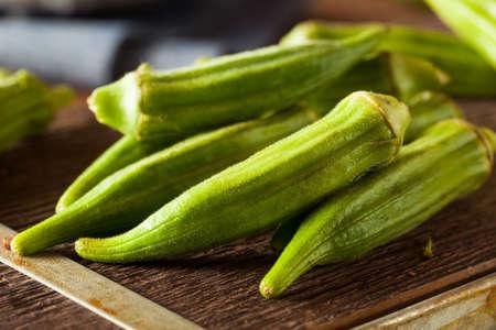 jhy: Fresh Green Organic Okra Ready to Use Stock Photo