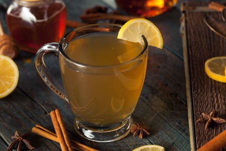 Warm Hot Toddy with Lemon Bourbon and Spices 写真素材