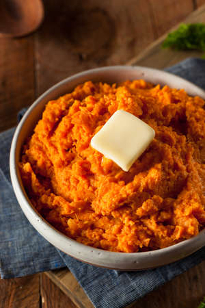 sweet potatoes: Organic Homemade Mashed Sweet Potatoes with Butter