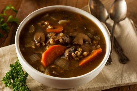 pearl barley: Homemade Mushroom Barley Soup Ready to Eat Stock Photo