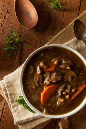 traditional food: Homemade Mushroom Barley Soup Ready to Eat Stock Photo