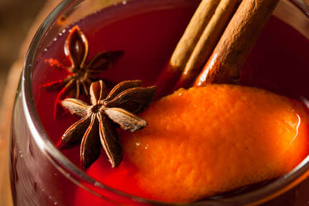 spiced: Spiced Mulled Wine with Oranges for the Holidays Stock Photo