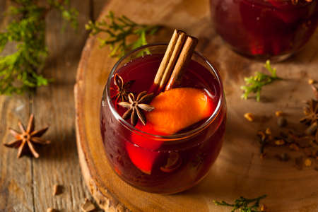 Spiced Mulled Wine with Oranges for the Holidays Stock Photo