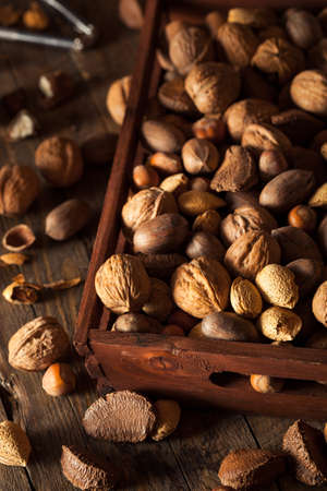 walnut: Assorted Mixed Organic Nuts with Walnuts Almonds and Pecans Stock Photo