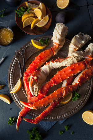 leg: Cooked Organic Alaskan King Crab Legs with Butter