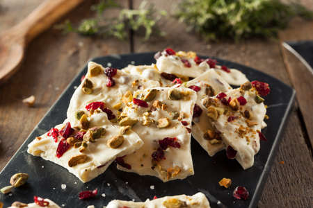 barks: Festive White Chocolate Holiday Bark with Cranberry and Pistachio Stock Photo