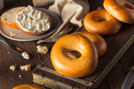 cream cheese: Homemade Plain Egg Bagels Ready to Eat
