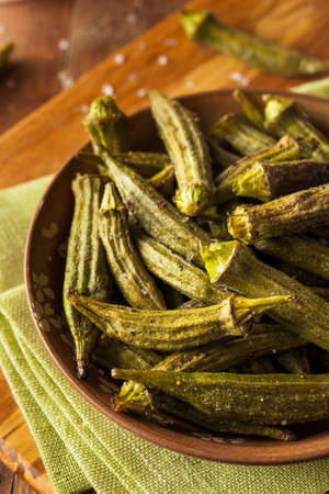 jhy: Green Organic Roasted Okra Ready to Eat