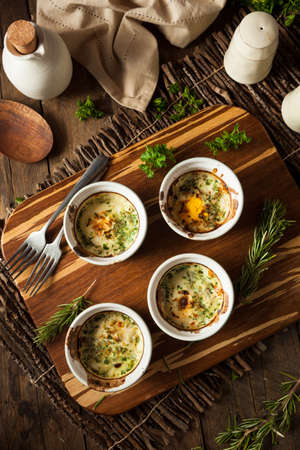 ramekin: Cream Egg Bake in Ramekin with Fresh Herbs