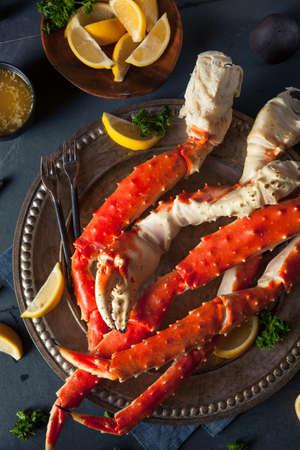 tiendas de comida: Cocinados cangrejo piernas Orgánica Alaskan King con mantequilla