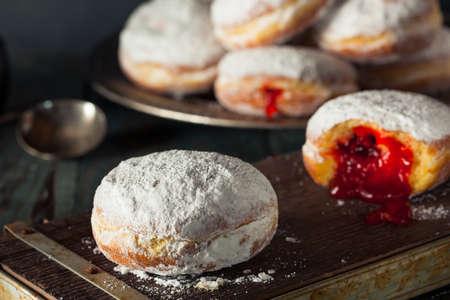 sugary: Homemade Sugary Paczki Donut with Cherry Filling