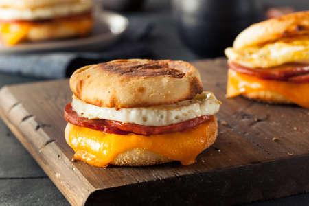 Zelfgemaakte Ontbijt Ei sandwich met kaas op een Engels Muffin Stockfoto