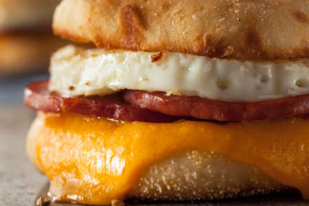 english food: Homemade Breakfast Egg Sandwich with Cheese on an English Muffin