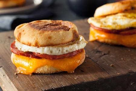 Hausgemachte Frühstück Ei-Sandwich mit Käse auf einem englischen Muffin