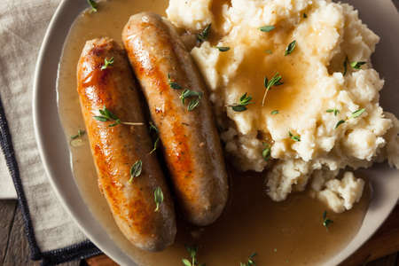 Homemade Bangers and Mash with Herbs and Gravy