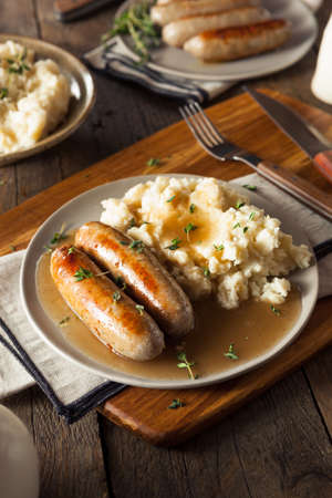 mash: Homemade Bangers and Mash with Herbs and Gravy