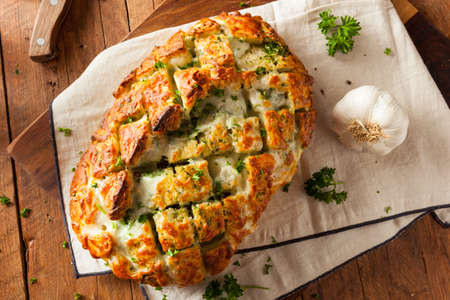 Homemade Cheesy Pull Apart Bread with Garlic and Parsley