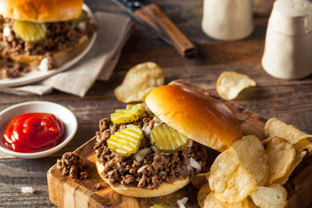 ground beef: Homemade Loose Meat Tavern Sandwich with Onion and Pickle