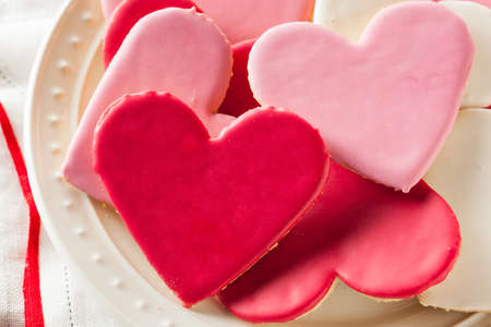 shaped: Heart Shaped Valentines Day Sugar Cookies Ready to Eat