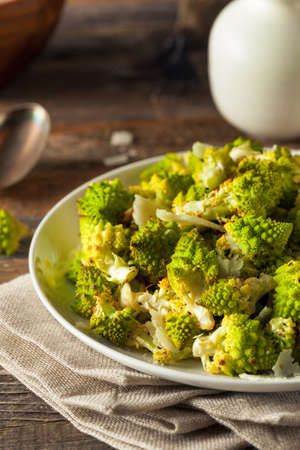 Organic Green Baked Romanesco with Cheese and Pepper
