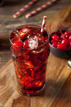 non alcoholic: Sweet Refreshing Cherry Cola with Garnish and Straw