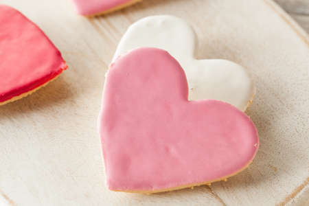 sugar cookies: Heart Shaped Valentines Day Sugar Cookies Ready to Eat