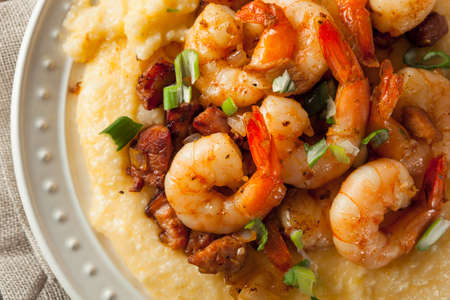 Homemade Shrimp and Grits with Pork and Cheddar