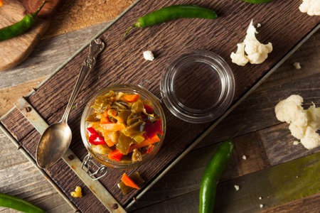 Spicy Homemade Pickled Giardiniera with Peppers, Carrots and Cauliflower