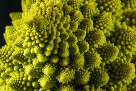 flower structure: Raw Green Organic Romanesco Ready to Cook Stock Photo