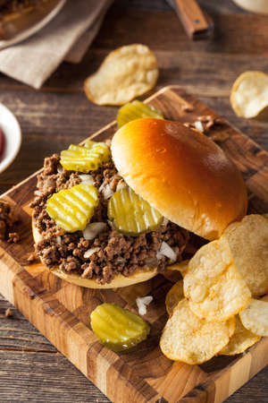 potato chip: Homemade Loose Meat Tavern Sandwich with Onion and Pickle