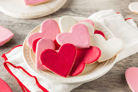 Heart Shaped Valentine's Day Sugar Cookies Ready to Eat 스톡 콘텐츠