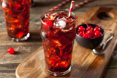 Sweet Refreshing Cherry Cola with Garnish and Straw