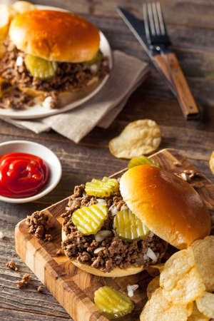 loose: Homemade Loose Meat Tavern Sandwich with Onion and Pickle