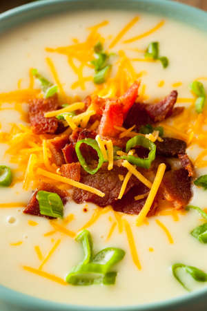 loaded: Creamy Loaded Baked Potato Soup with Bacon and Cheese Stock Photo