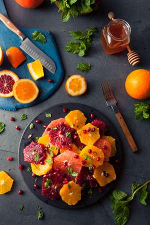 Raw Homemade Citrus Salad with Grapefruit and Oranges