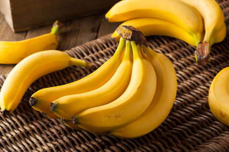 Raw Organic Bunch of Bananas Ready to Eat
