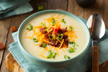 potato soup: Creamy Loaded Baked Potato Soup with Bacon and Cheese Stock Photo