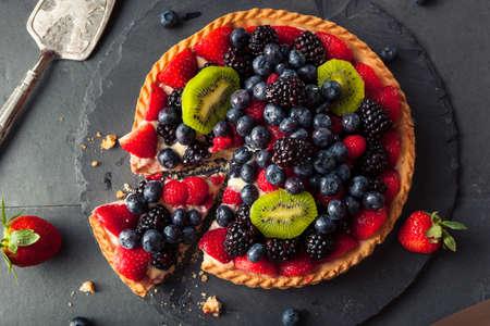 fruit tart: Homemade Key Lime Fruit Tart with Berries