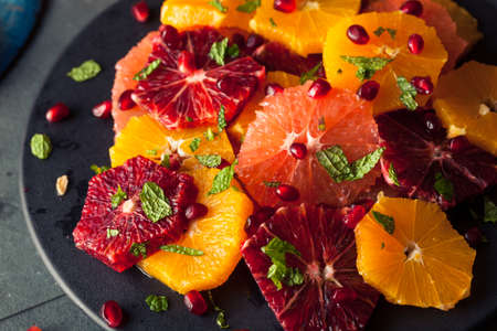Raw Homemade Citrus Salad with Grapefruit and Oranges